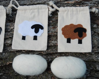 Felted Soap With Wooly Sheep Gift Bag, Your Choice of Color, Handmade, Primitive Country, Easter Decor