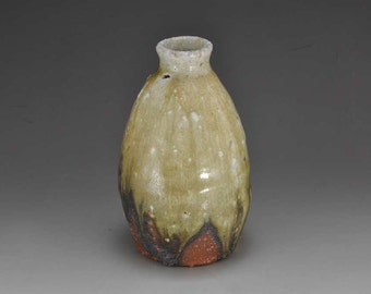 Shigaraki, anagama, ten-day anagama wood firing, with natural ash deposits sake bottle. tokuri-78