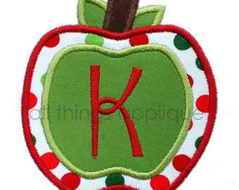 Apple Applique Alphabet - ONE LETTER ONLY - 3 Sizes - Back to School