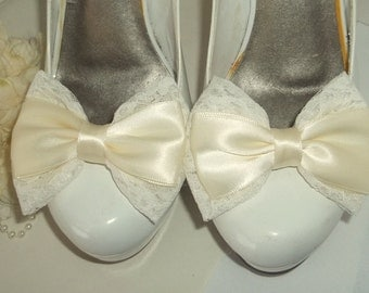 Wedding Bridal Shoe Clips - Lace and Satin Bows -  Bridal Wedding -Prom,  Gift - Weddings, Special Occassion
