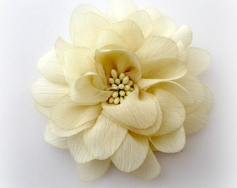 "Ivory Chiffon Flower with Center. Ivory Fabric Flowers. 4"". ISLA Collection."