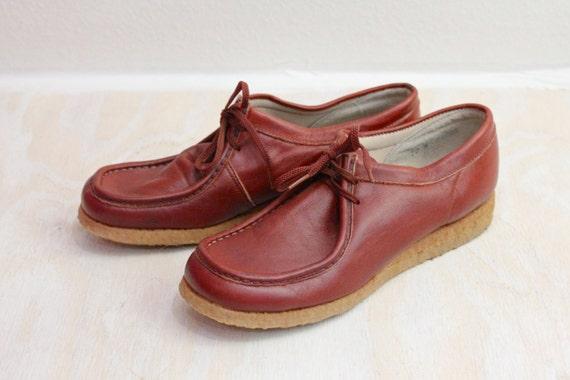 Vintage 70's Oxblood Wedge Leather Oxfords