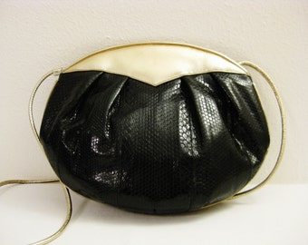 Barbara Bolan-- Vintage 70s Disco Style  Leather w/Gold & Snakeskin Finish Purse