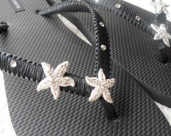 Black Macrame Flip Flops / Starfish Rhinestones Flip Flops / Bridesmaids Sandals / Bridesmaids Shoes..