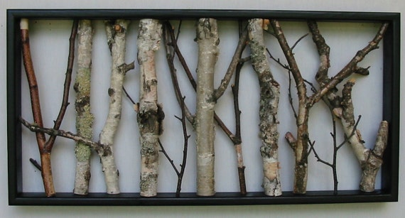 Birch Wall Hanging Black And White Open Art Rustic Art
