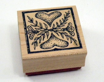 Rubber Stamp Heart Tile