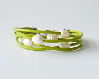 Leather and Pearl Bracelet, Lime Green Leather and Freshwater Pearls, Gift Boxed