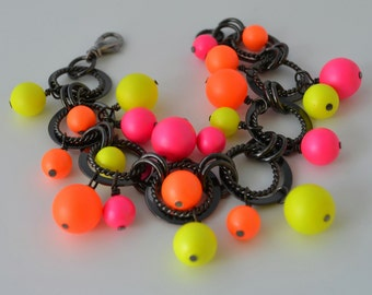 Chunky Neon Pearl Bracelet on One of a Kind Black Gunmetal Chain, Cha Cha Bracelet, Citrus Colors, Gift Boxed