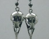 Nectar Bird Skull Earrings, Black Diamond, Sterling Silver