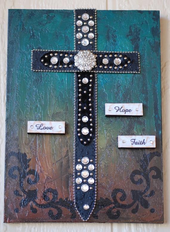 Black Bling Belt Cross Wall Hanging Cross Home Decor Love