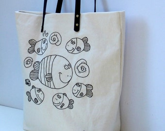 Canvas natural color  tote bag hand embroidered with fishes in black, handmade bag, one of a kind,  Shoppers bag