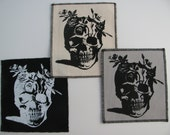 One flower skull canvas patch in any color you choose....FREE SHIPPING USA