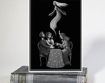 Ghostly Seance Illustrated Greeting Card