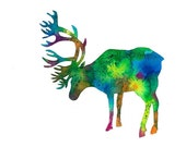 "elk caribou art print Minimalistic illustration silhouette from a original watercolor large gallery size 11"" x 14"""