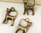 Cat Charms -25pcs Antique Bronze Mini Walking Cat Charm Pendants 11x17mm E302-1