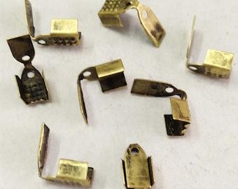 Crimp End Fastener Clip -200pcs Antique Bronze Clasp Clips Wholesale Jewelry Findings 5x9mm