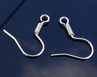 200pcs Silver Plated Earring Hooks Earwire with Coil Earring findings 16mm W125