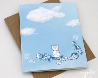 Cloudy CAT Card -  Kitten Cloud card, Blank Card, Happy Birthday Cat Card, Pet Sympathy