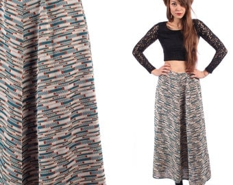 LONG Boho Skirt PIXEL ART Print 70s Maxi Knit Skirt Hippie Gypsy Bohemian Blue 1970s Boho High Waisted Long Vintage . Medium