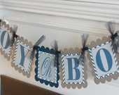 "Navy Grey Chevron Baby Shower ""Boy Oh Boy"" Banner - Ask About our Party Pack Specials"