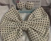 Cream and Black Polka Dot  Bow Tie and Button Earring Set