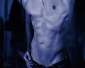 Fresh Bitten Gay Art Male Art Digital Download JPG Photo by Michael Taggart Photography vampire blood monochromatic muscular strong abs