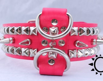 Long Spiked Hot Pink Leather Dog Collar with Studs