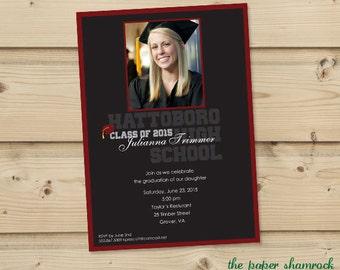 Photo Graduation Invitation, High School Graduation Invitation, College Graduation Invitation, Graduation Party Invitation, 2015