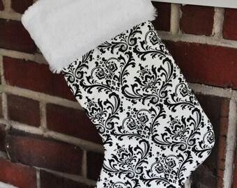 SALE Monochrome Christmas Stocking Black and White Wholesale Personalized Elegant Madison Damask no.047