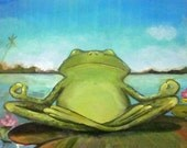 "Zen Frog II giclee print on stretched canvas Yoga Art 8""x10"""