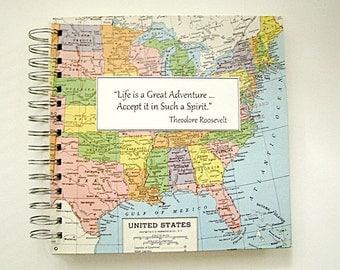 "Large Customized Travel Journal, 8"" x 8"""