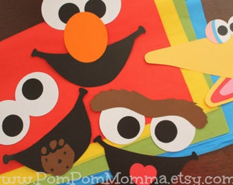 Set of Four Sesame Street Inspired Faces