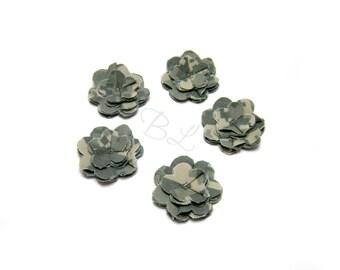 Set of 5 Army ACU Twill Fabric Flowers