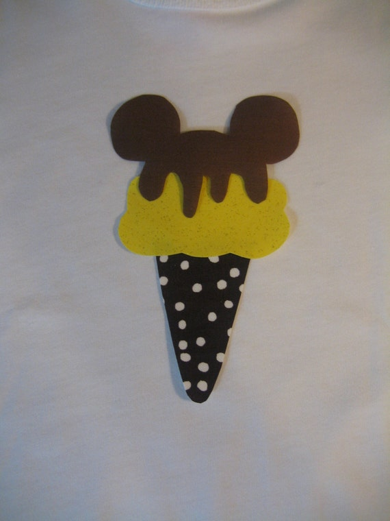 items similar to disney mickey mouse ears ice cream cone onesie shirt on etsy. Black Bedroom Furniture Sets. Home Design Ideas