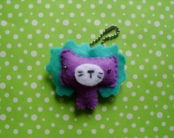 Plush Blue and Purple Lion Keychain Stuffed Animal Jungle Plushie Softie Cute Pet Ooak Small