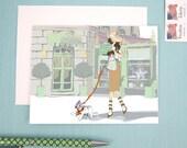 Greeting Card, note card, Trip to Laduree, Fashion Illustration, Girl and her French Bulldog, Laduree Love