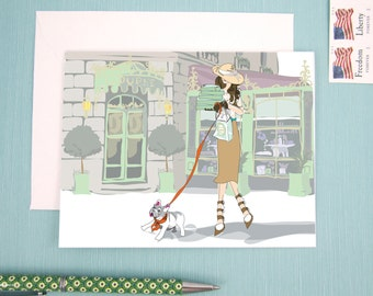 Greeting Card, note card, Trip to Laduree, Fashion Illustration, Girl and her French Bulldog, Laduree Love