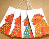 Hen swing tags pack of 4 Chicken gift tags