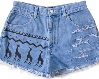 High Waisted Denim Shorts Vintage Distressed Tribal Aztec Giraffe Safari Hand Painted Boho Coachella Hipster Small Medium W28