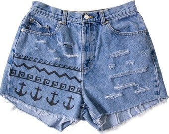 High Waisted Denim Shorts Vintage Ripped Distressed Anchor Nautical Tribal Waves Hand Painted Boho Coachella Hipster W27