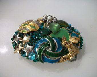 """Fancy OOAK """"Blues & Greens"""" vintage enamel jewelry belt buckle"""