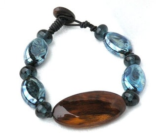 Wood and Glass Bracelet, Lampwork Beads, Oil Slick Glass, Handmade Black Walnut  Art Beads, Silvery Blue and Brown