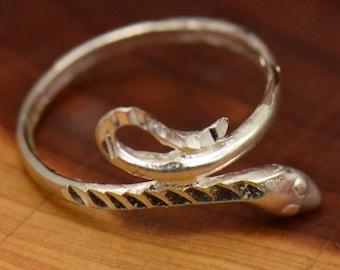 Vintage Sterling Silver Cobra Serpent Snake Wrap-Around Ring, Size 6