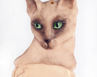 Siamese Cat Personalized Christmas Ornament place your feline's name on this beautiful detailed ornament (c22)