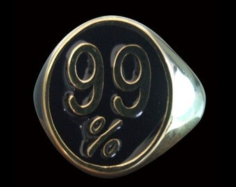 Solid Bronze 99% Occupy Wall Street Protest Biker Ring (OWS) - Free Re-Size/Shipping