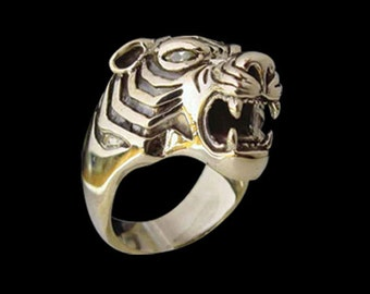 Solid Bronze Bengal El Tigre Animal Big Cat Tiger Ring Customizable stones any color  - Any Size - Free Re-Size/Free Shipping Worldwide