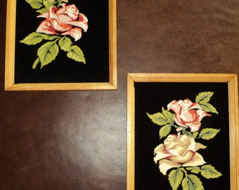 2 Vintage Black Velvet Paint By Number Still Life paintings of Romantic Red and Yellow Roses on Black Velvet  Well Done Romantic pictures