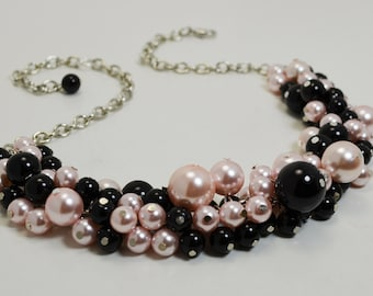 Pearl Necklace, Black and Pink Necklace, Chunky Necklace, Cluster Necklace, Pearl Jewelry, Bridal Jewelry, Black and Pink Pearl Necklace