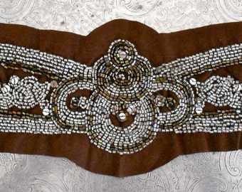 Silver and Coppery Brown Beaded Applique