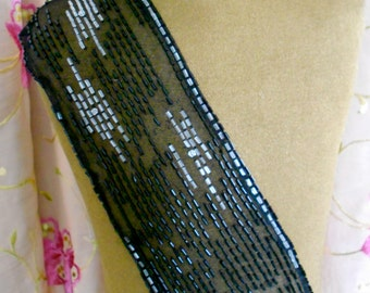 1920's Black and Clear Beaded Piece